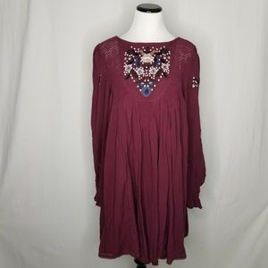 Free People Floral Embroidered Minidress Burgundy